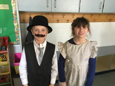 Photo of students for the wax museum