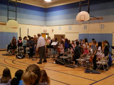 students playing in the strings concert